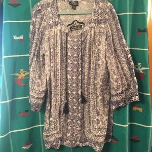 NWT Navy & White Angie Tunic w/ drawstrings sz L